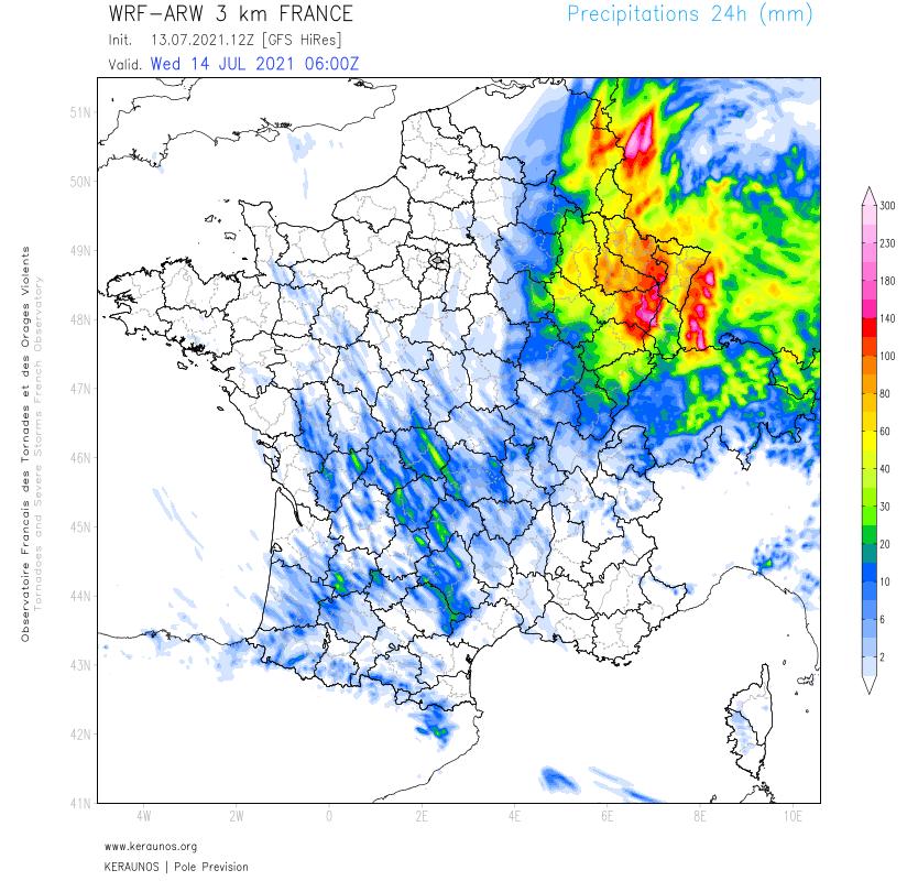 Journée très pluvieuse demain et nuit suivante sur le nord-est avec des lames d'eau pouvant dépasser 100 mm près des #Vosges en particulier. Les pluies vont continuer jeudi.