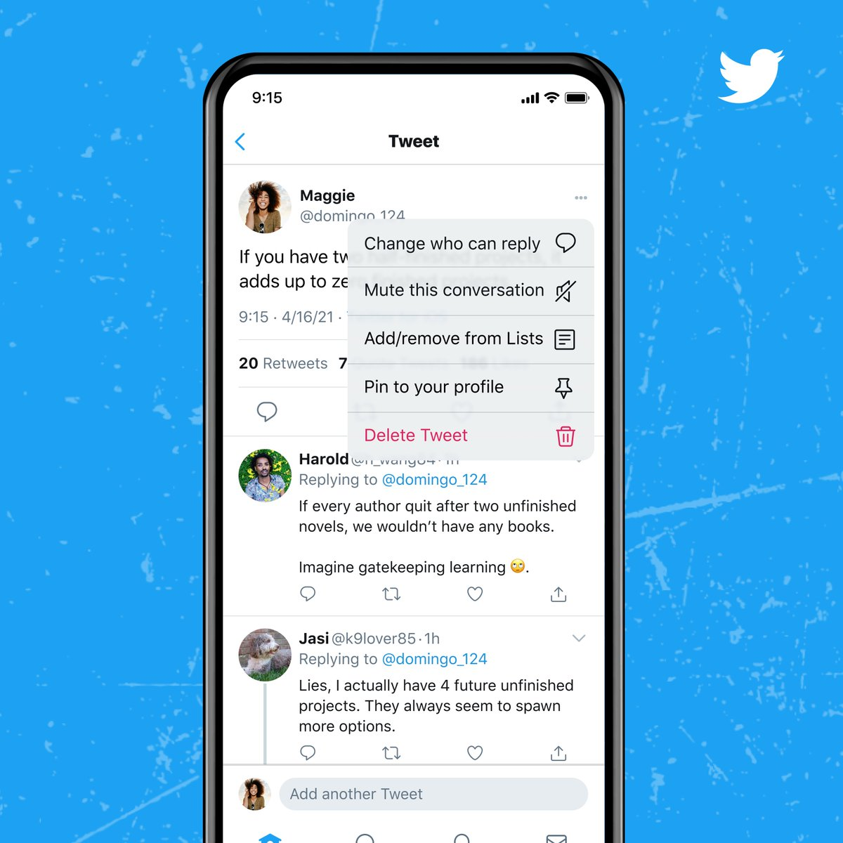 Your Tweets = Your space. Now you can change who can reply to you even after you Tweet. https://t.co/rNWJk6zWTr https://t.co/3HFSjAotg7