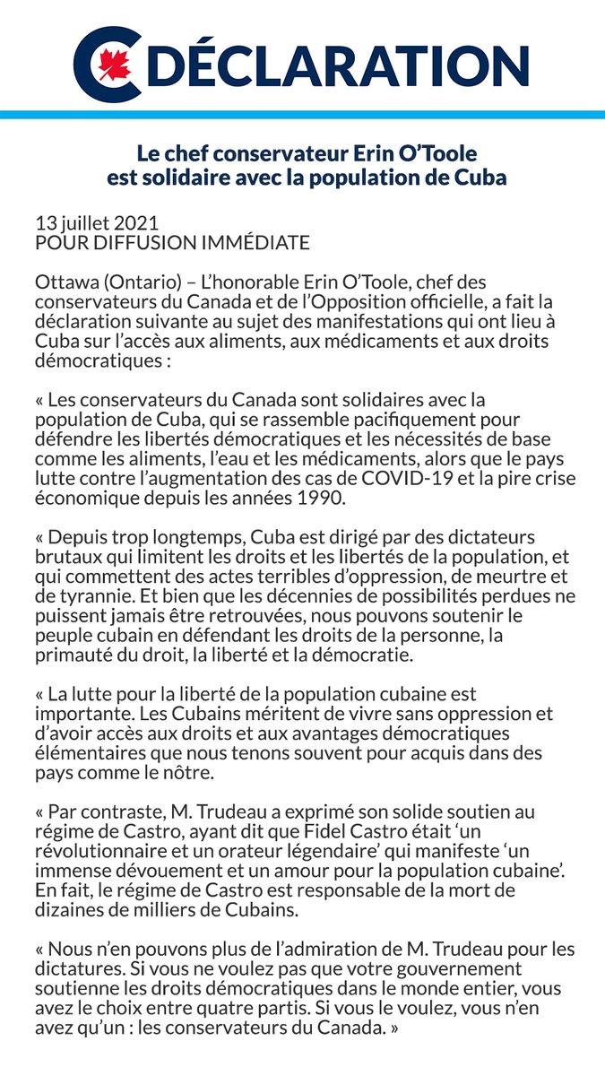 Les conservateurs du Canada soutiennent le peuple cubain. Vous trouverez ma déclaration ci-dessous. https://t.co/cU1R4DndtL