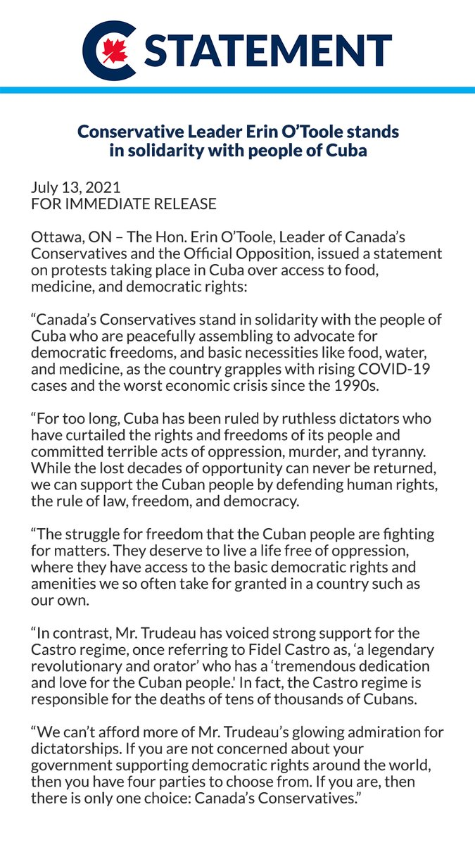 Canada's Conservatives stand in solidarity with the people of Cuba. See my statement below. https://t.co/ZmAEVsac7E