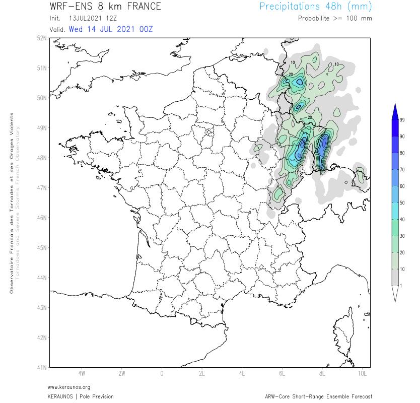 Les proba de cumuls 48h > 100 mm sont importantes sur les #Vosges. Un signal existe pour des cumuls > 200 mm en 48h.  Cela équivaut à environ 2 mois de pluie normaux sur le secteur.  Pluviométrie anormale alors qu'il est déjà tombé parfois 100 mm depuis début juillet.