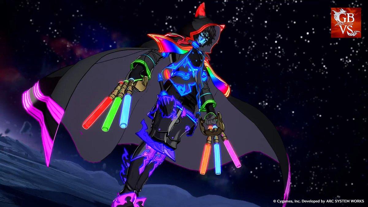 【キャラカラー×武器スキン紹介】 カラー8と武器スキン「五色煌めく導火」を組み合わせると、身体から武器に至るまでカラフルな光を放つシスで戦えます。 その手に握られた6本の得物、実は原作におけるペンライト風の道具「トレピリ」です!舞台だけでなく対戦でも振り回し盛り上げよう!  #GBVS