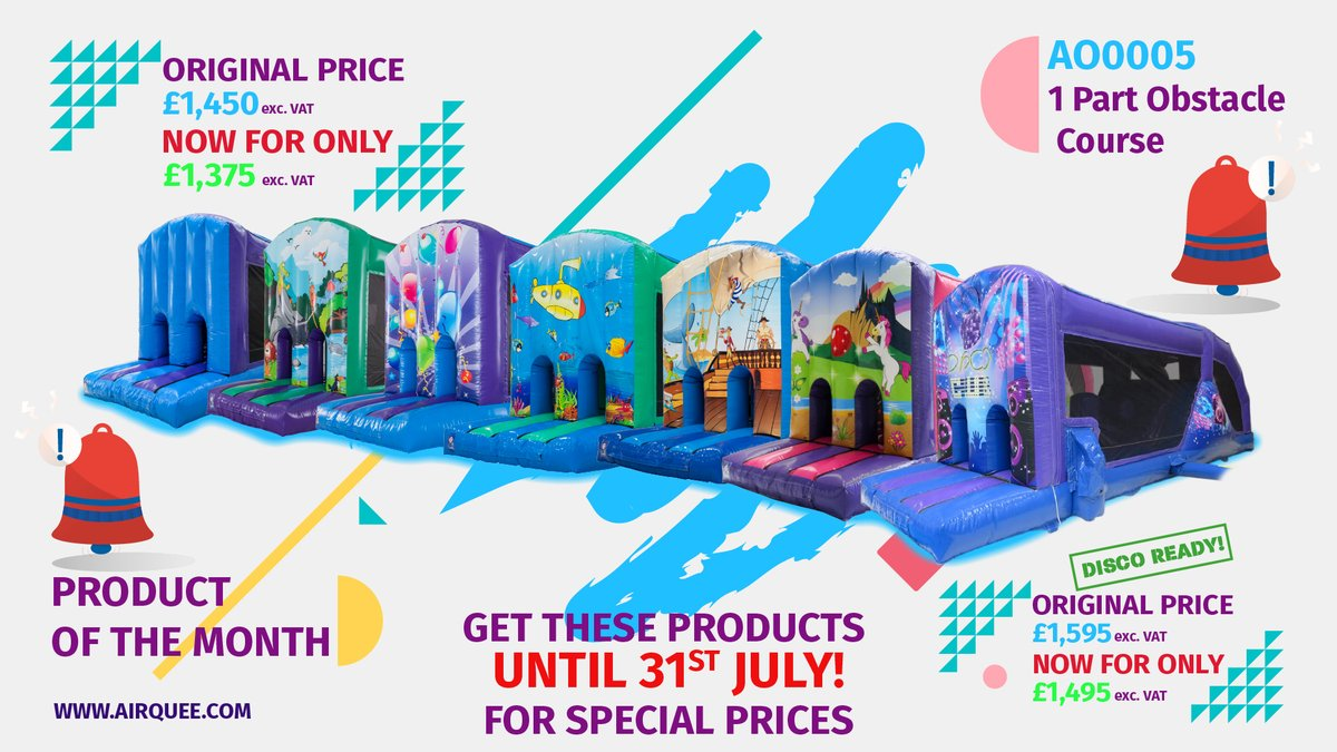 🔔 Reminder 🔔 📣Product of The Month: AO0005 1 Part Obstacle Course🥇 Get this product for only £1,375 exc. VAT throughout July. Choose your theme! bit.ly/3w5Axbl ❗️Offer ends 31.07.2021 #productofthemonth #nr1 #TopSeller #buyyourown #promotion #discount #July #airquee
