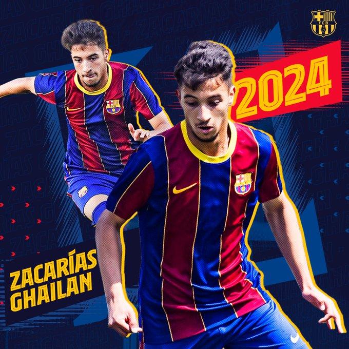زكريا غيلان يجدد حتى عام 2024 ويصعد إلى برشلونة ب 1