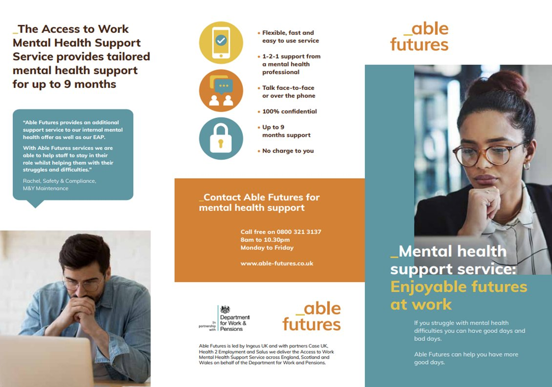 test Twitter Media - Have you been struggling with your mental health recently? Did you know that all workers have access to a free tailored mental health service that can help you have more good days. Able futures offer up to 9 months support, contact details below:- https://t.co/3lcAgK6uW8