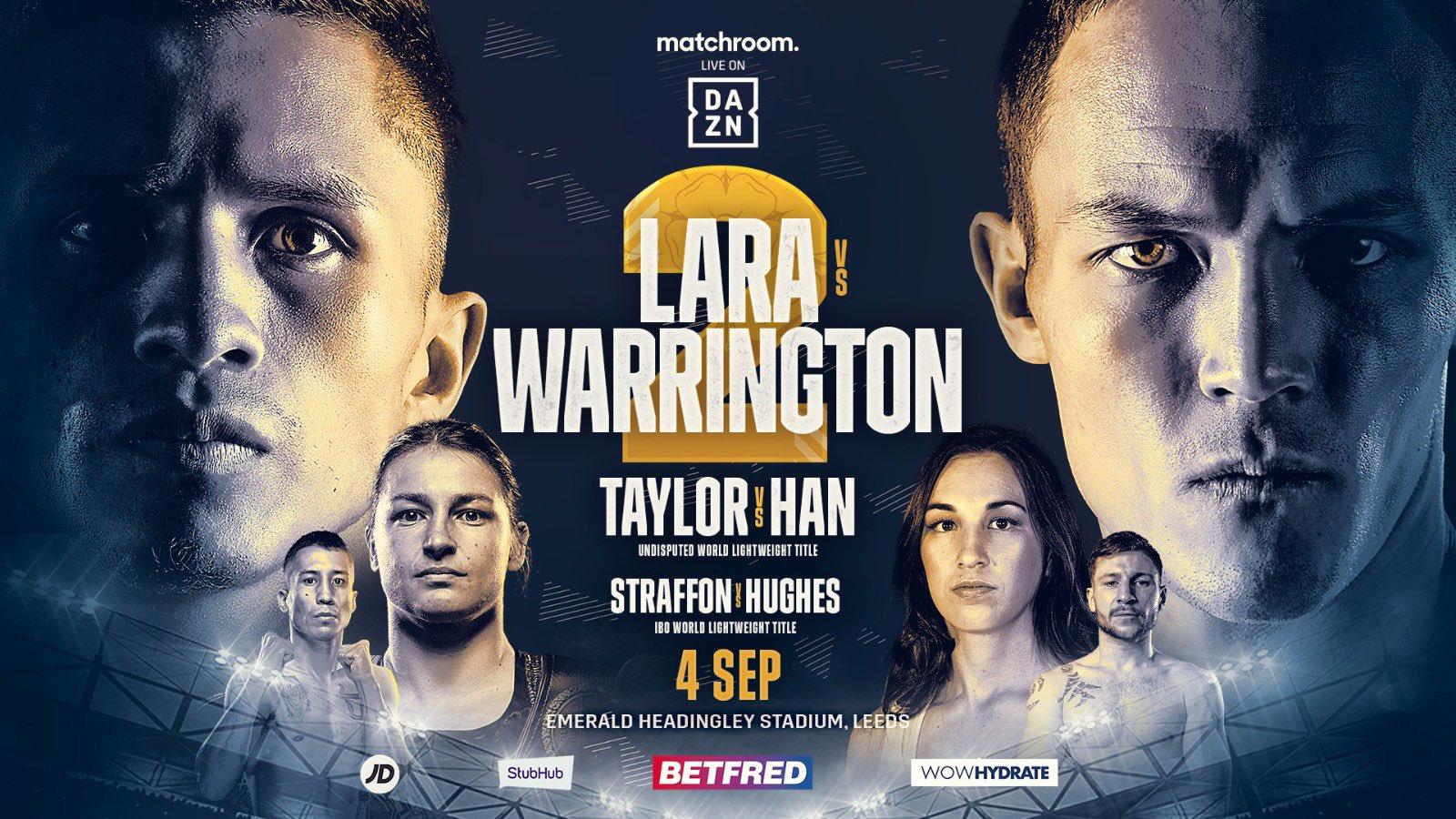 'Bronco' Lara le otorgará la revancha a Josh Warrington el 4 de septiembre en Leeds, Inglaterra.