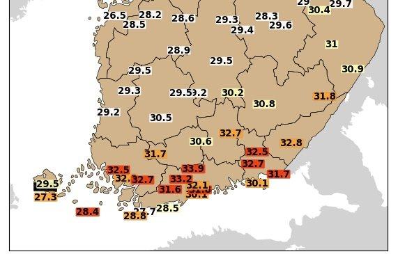 Toujours plus chaud en #Finlande avec près de 34°C dans le sud du pays ce mercredi.