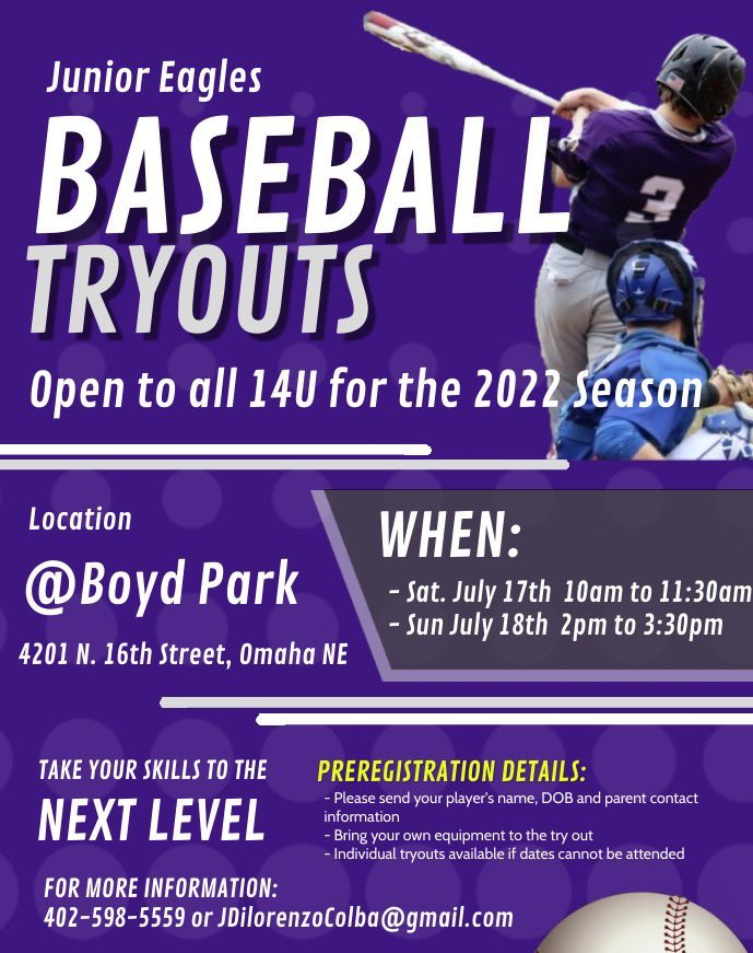 Central High School @OPSCentralHigh Junior Eagles baseball program is holding 2022 14U tryouts this upcoming weekend! Get the details below! Please share with others. cc: @OPSCHSBSB @MemorialLLOmaha @grover_ll @HillsideLL