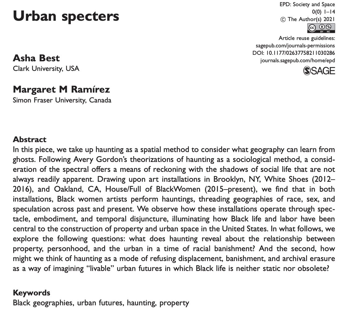Online 1st: Asha Best and @magdeluna 'Urban Specters' https://t.co/UihUrQFlr0 Part of forthcoming 'dwelling in liminalities' special issue guest edited by @michelelancione and @XazaarAdjame https://t.co/k5CDiJONSp