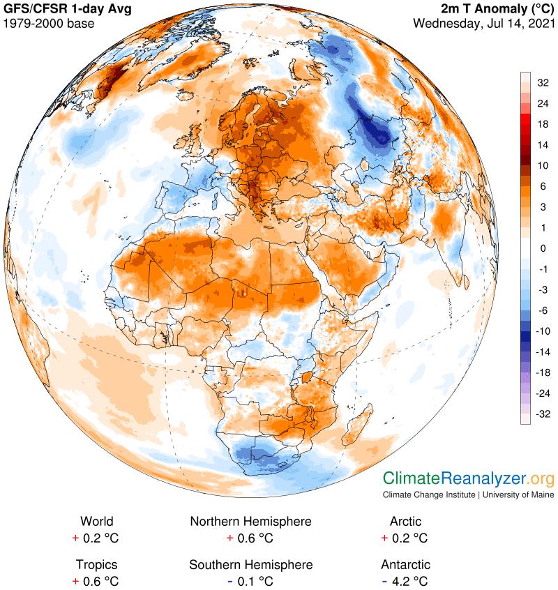 A l'opposé, seulement 16 à 18°C de maxi en Rhône-Alpes ce mercredi. Avec 17,2°C à #Lyon, c'est 10°C sous les normales d'un 14 juillet. A l'inverse, anomalie positive de l'ordre de 10°C en #Finlande.