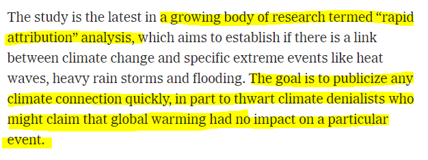 NYT reveals how climate 'attribution' is tool to silence 'denialists': 'Goal is to publicize any climate connection quickly, in part to thwart climate denialists'