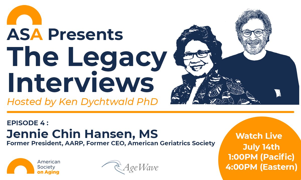Tune in now to The Legacy Interviews! On today's episode Ken Dychtwald, PhD is joined by  Jennie Chin Hansen, RN, MS, FAAN https://t.co/a4HSWW1BG9 https://t.co/oBU8Pc3Ub1
