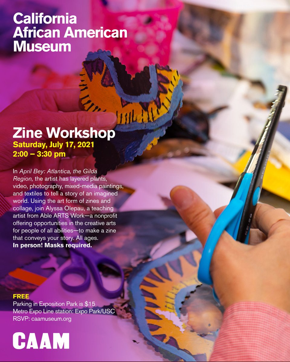 Come to our first, in-person #ZineWorkshop in over a year! See you this Saturday at @CAAMinLA ✂️✏️