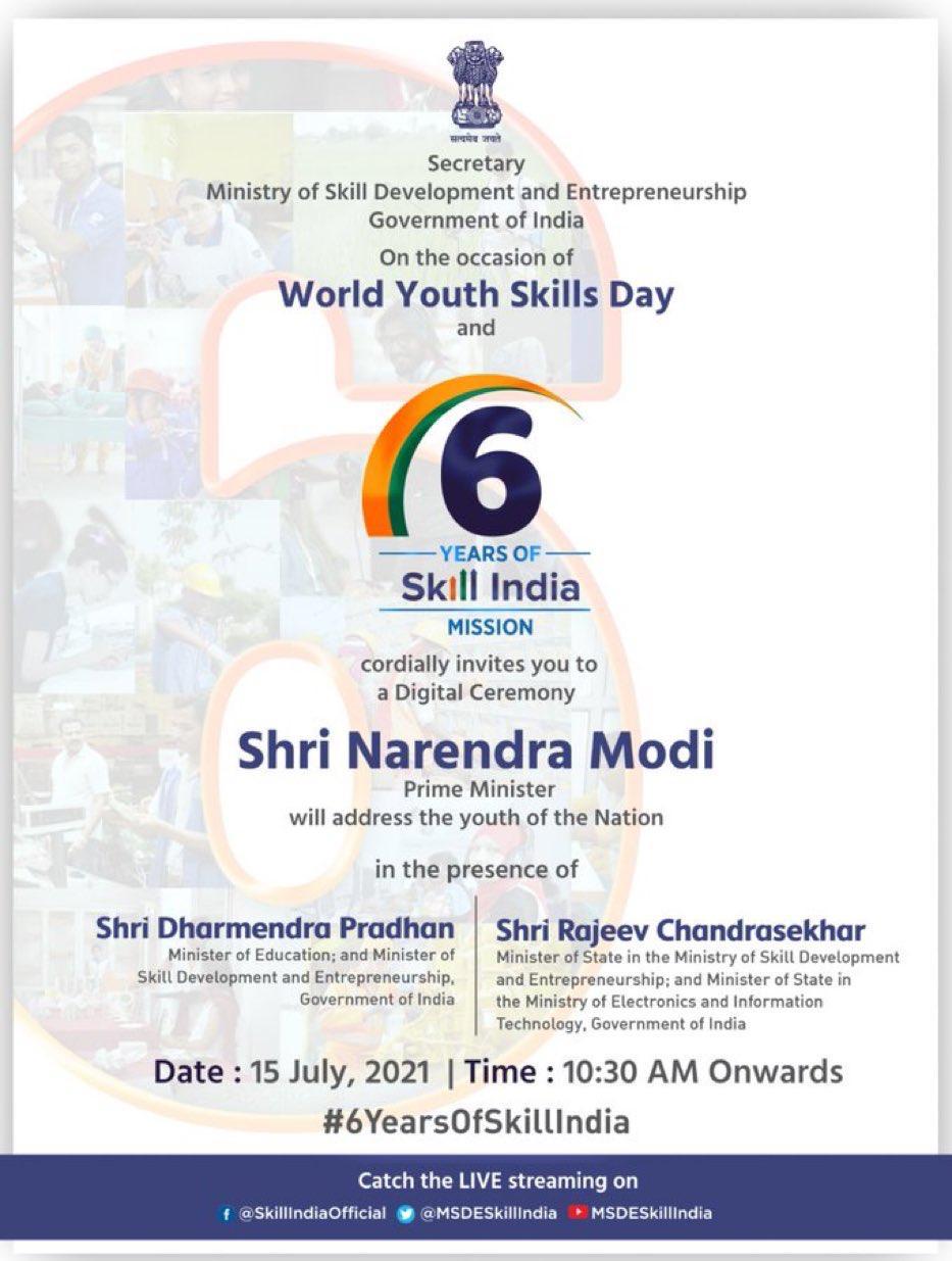 प्रधानमंत्री नरेन्द्र मोदी आज विश्व युवा कौशल दिवस और कौशल भारत अभियान की छठी वर्षगांठ पर युवाओं को संबोधित करेंगे