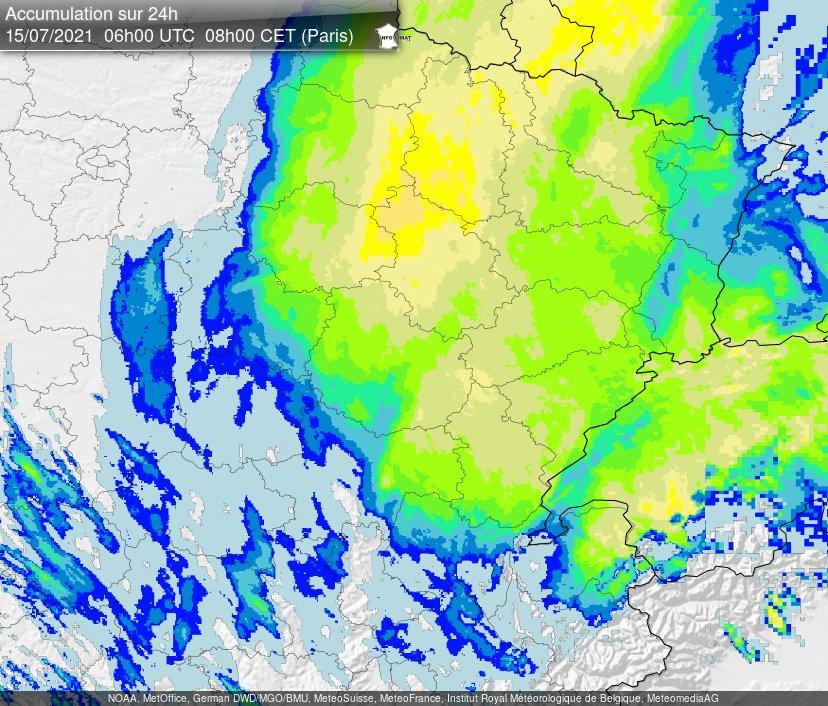 Parfois plus de 80/100 mm en 24h sur le #GrandEst notamment en Champagne et en Meuse. Crues fréquentes sur les bassins du nord-est. Lame radar @infoclimat