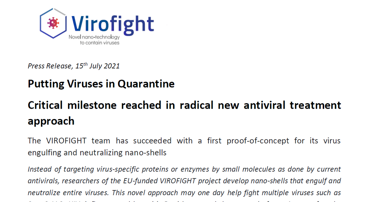 👏Great success of our @virofight project!  Congratulations to the team of @TU_Muenchen led by project coordinator @hendrik_dietz for managing to demonstrate the feasibility of the virus engulfing and neutralizing nano-shells. 👩🔬👨🔬🧪🧬 #AntiviralTreatment #NanoMedicine