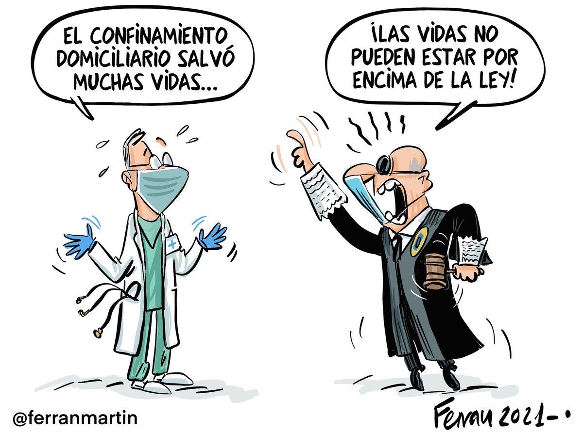 """Ferran Martín's tweet - """"El imperio de la ley. Viñeta vía #confinamiento  #TC #constitucional #justicia #covid #viñetas """" - Trendsmap"""