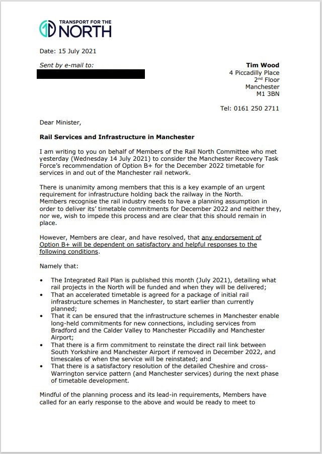 📝Today we have written to Ministers on behalf of the North's passengers.  🚄The North's leaders won't accept stripped-back #train services unless the Government fully commits to delivering key #rail investment projects in the North leading to increased capacity & #connectivity. https://t.co/8tkwDjEXWD