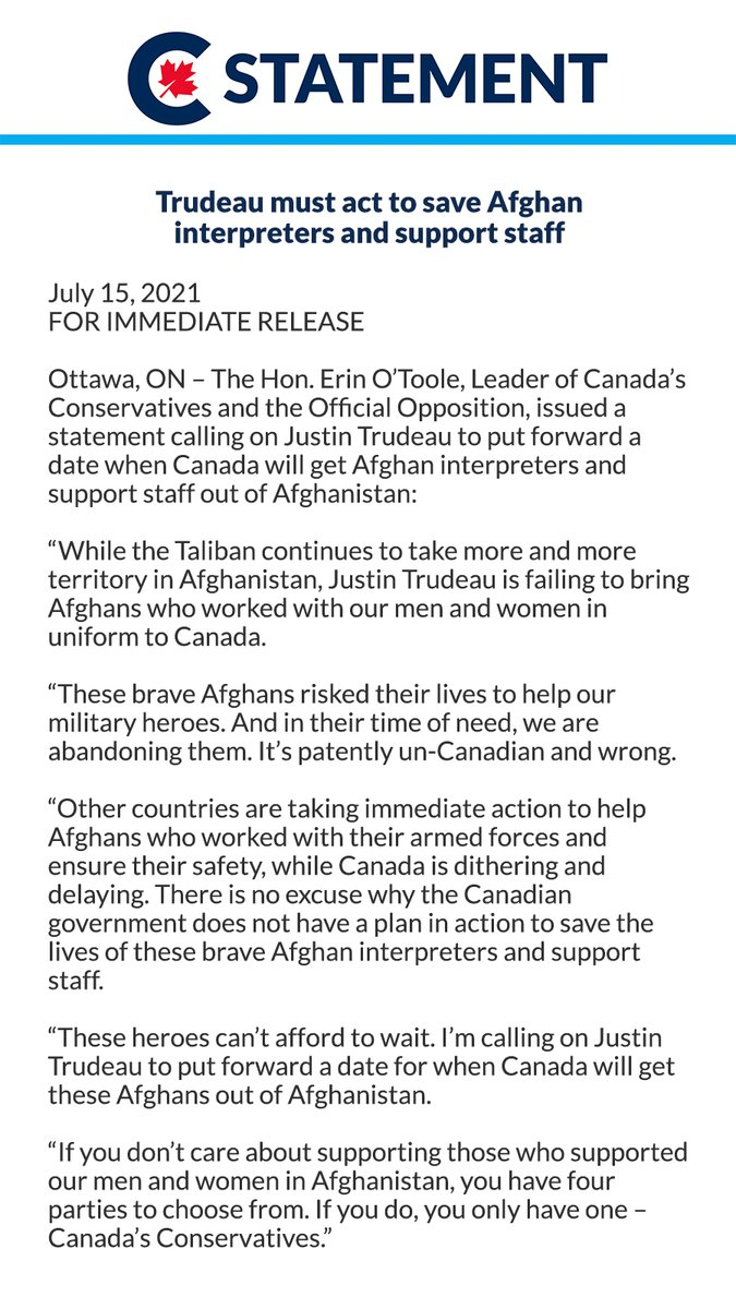 These brave Afghans risked their lives to help our military heroes. And in their time of need, we are abandoning them. It's patently un-Canadian and wrong. https://t.co/uNaTZk9nQq