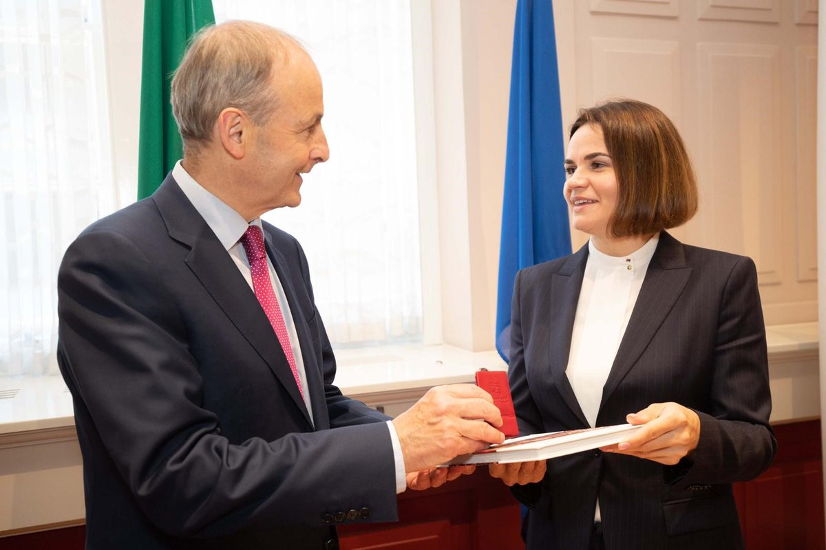 Good to welcome Sviatlana Tsikhanouskaya to Government Buildings today.  Ireland and the EU will continue to show unwavering support for democracy and freedom in #Belarus.  @Tsihanouskaya https://t.co/ewlBrPEzhf