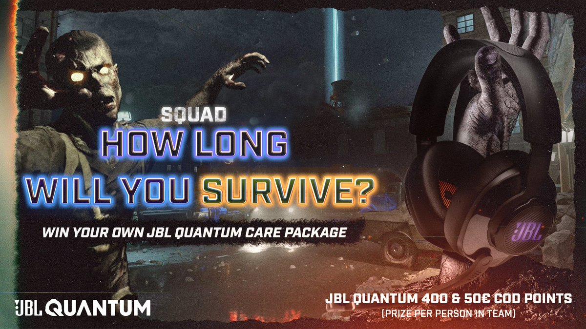 """How many rounds can your squad survive in Mauer Der Toten?   Survive as long as possible to win a JBL Quantum care package!   All you have to do to enter is: 👉 Follow @JBLQuantum ♥️ Like this post 👇Submit your timed proof below while using the clantag """"JBL""""    #SoundIsSurvival"""