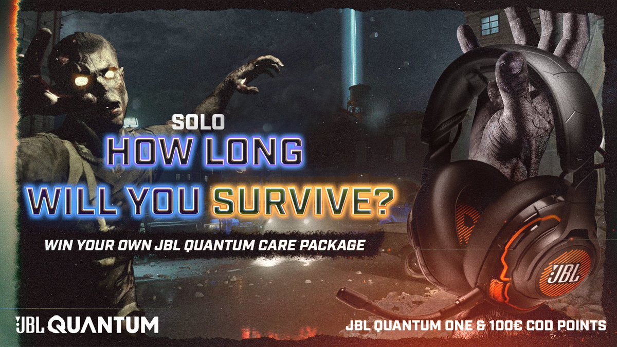 """How many rounds can you survive in Mauer Der Toten?   Survive as long as possible to win a JBL Quantum care package!   All you have to do to enter is: 👉 Follow @JBLQuantum ♥️ Like this post 👇Submit your timed proof below while using the clantag """"JBL""""    #SoundIsSurvival"""