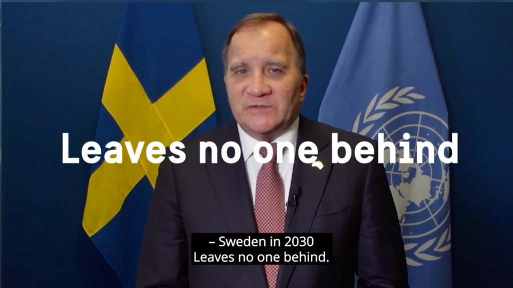 """""""The global pandemic has forced us to re-think & adapt the way we live. We need to look ahead and plan for a fair & sustainable recovery where we #LeaveNoOneBehind. And the #2030Agenda is our roadmap""""  @SwedishPM presenting the second🇸🇪 #VNR at #HLPF2021 https://t.co/ArYipE9lOV"""