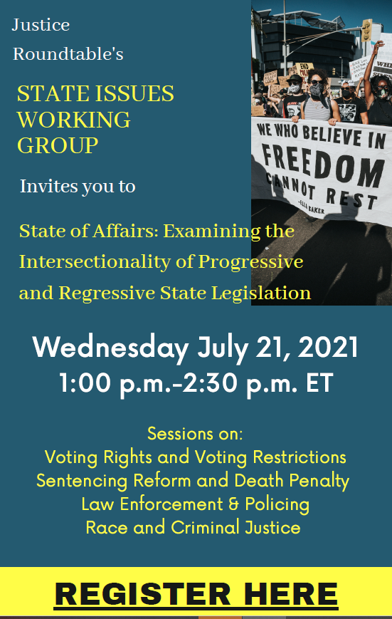 Join our Executive Director, @sheena_meade, as she speaks at the @justiceroundtab State of Affairs webinar  about reentry and new barriers for justice-involved individuals on July 21st at 1pm ET. Register here to join: https://t.co/mYoAqmlBAB https://t.co/FoYulWJd53