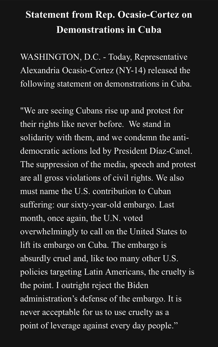 """INBOX: @AOC calls to lift the U.S. embargo on Cuba  """"The embargo is absurdly cruel and, like too many other U.S. policies targeting Latin Americans, the cruelty is the point. I outright reject the Biden administration's defense of the embargo."""" https://t.co/DsYmyVhG8o"""