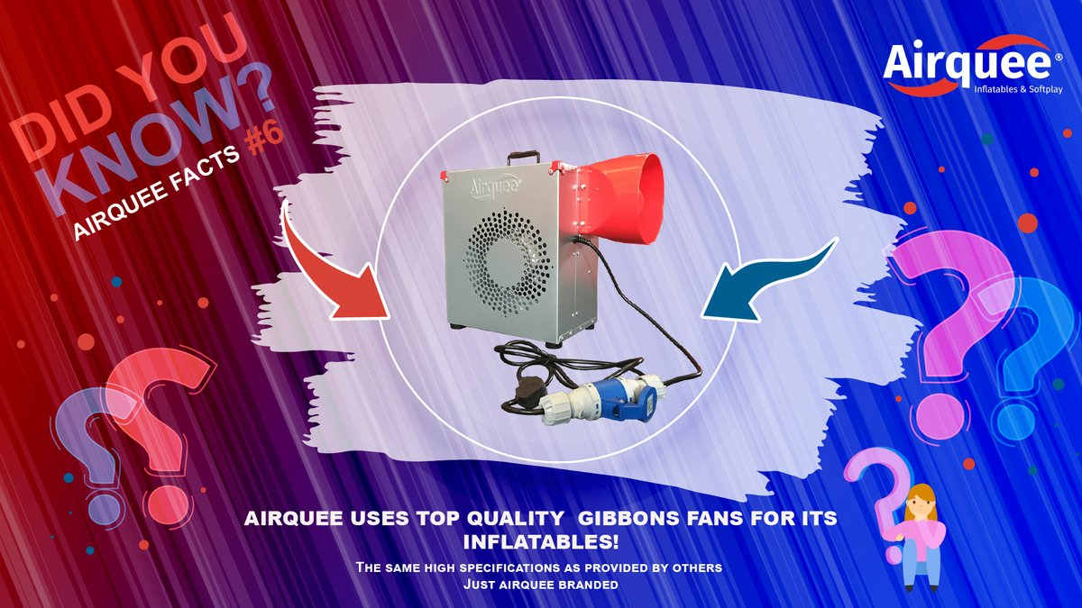 DID YOU KNOW❓ Airquee Facts #6 👉 We use top quality gibbons fans for our inflatables 🔝The same high specifications as provided by others just Airquee branded #airquee #Facts #howwedo #findout #askmehow #products #inflatables