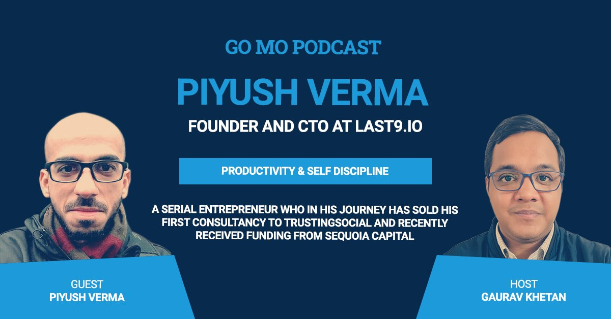 This week's #podcast features our own Gaurav Khetan hosting an insightful Q&A session with Piyush Verma, founder and CTO of Last9 and several successful ventures over the years to get insights on productivity, self-discipline and much more. https://t.co/zniMRFTDCd