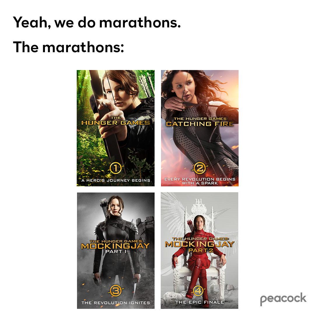 Movie marathon? We volunteer as tribute. #TheHungerGames film series is streaming now on Peacock. https://t.co/6qMKC5ElDM