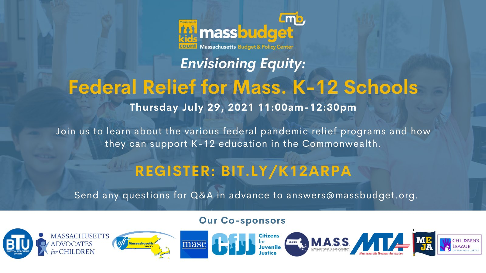 """MassBudget: """"Envisioning Equity: Federal Relief for Mass. K-12 Schools"""" - July 29 (webinar)"""
