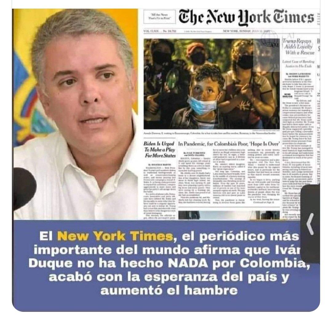 RT @MartaMurielRod1: El New York Times afirma q Duque no ha hecho nada por Colombia! https://t.co/LCrBuMsMth