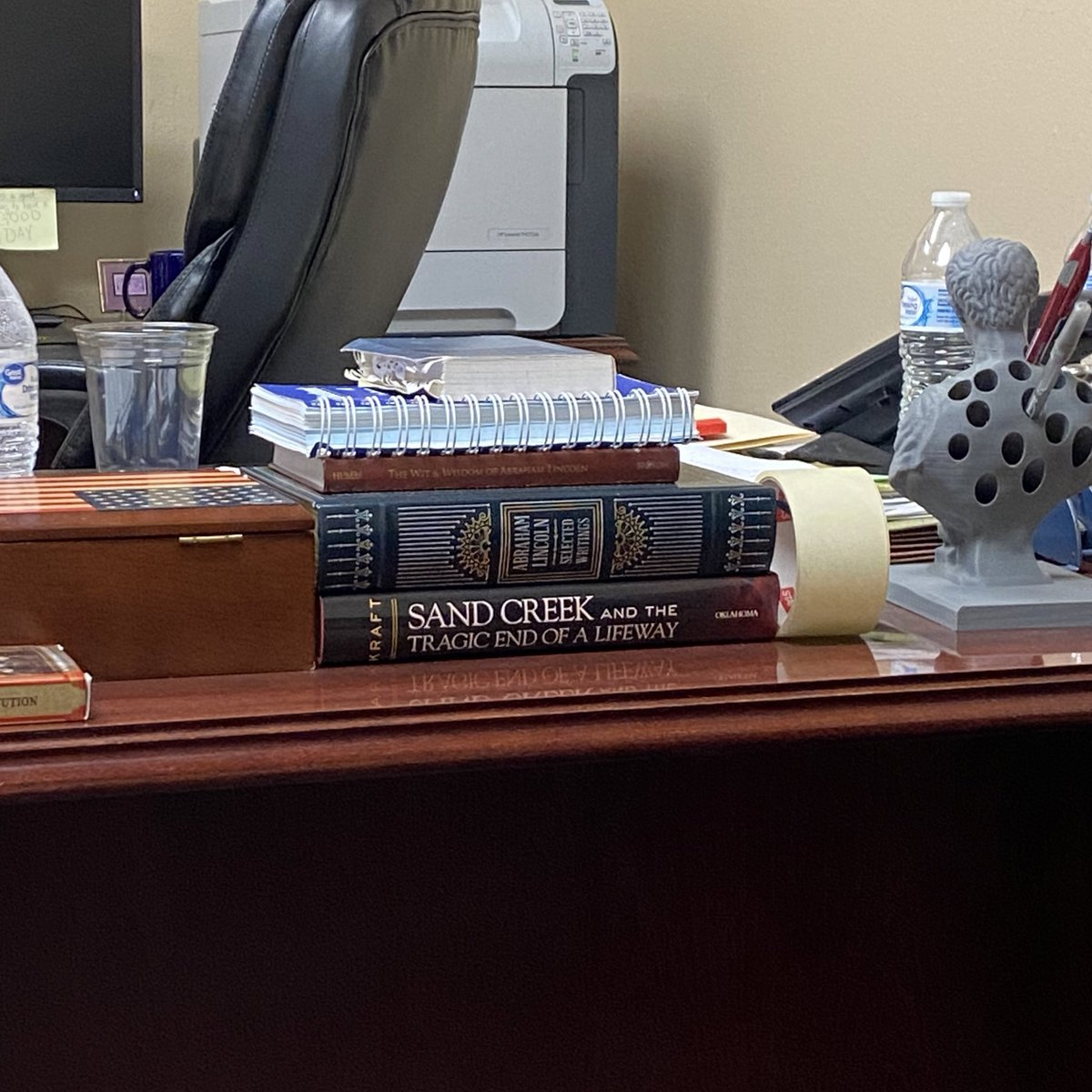 You know a judge is righteous when he's got a book about the Sand Creek massacre on his desk in his chambers. It was one of the absolute worst massacres of Native Americans in US history. Few people know about it because they don't put it history books in schools https://t.co/srRto7GmGK