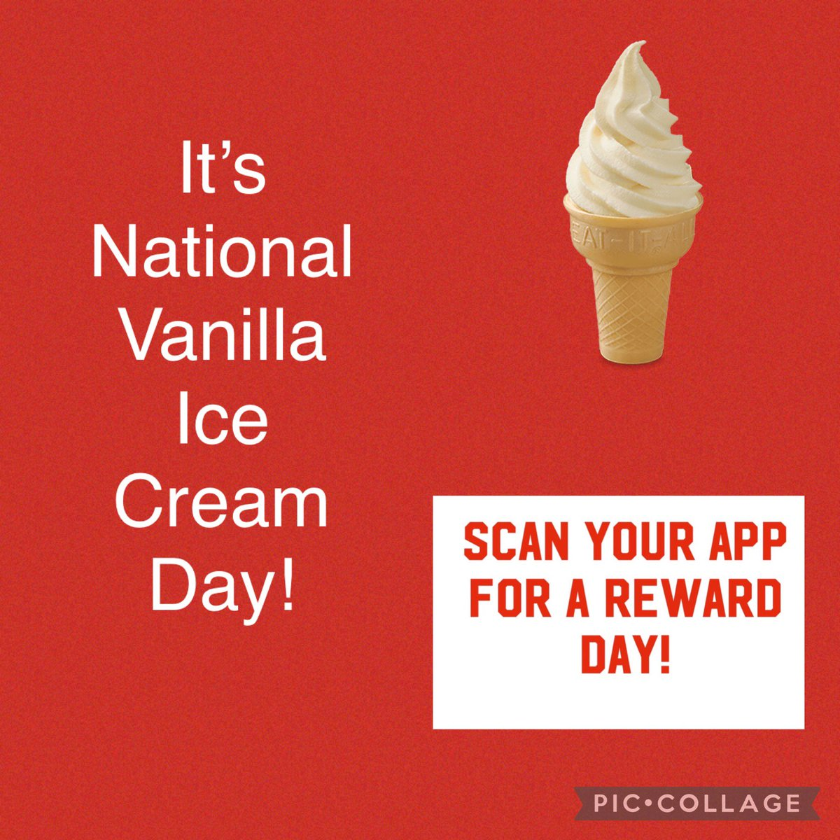 Happy Friday! It's National Vanilla Ice Cream Day, and we're celebrating! *Make a purchase in drive-thru, scan and have an IceDream Cone reward added to your app! *Reward added in the next week *This location only *(1) per person *Does not include curbside or mobile order  #cfa https://t.co/ja6U4ONTx9