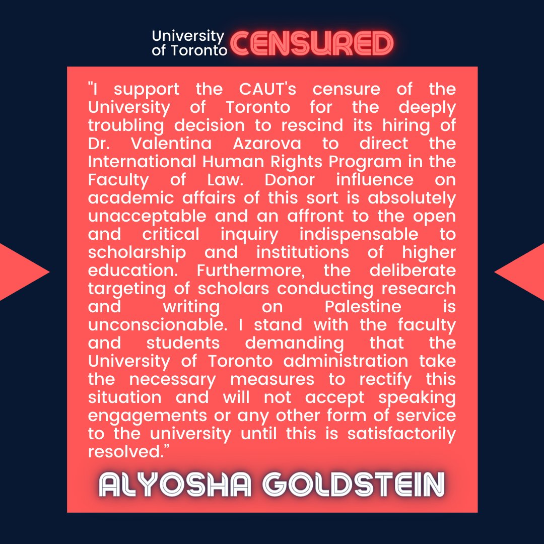 """""""Donor influence on academic affairs of this sort is absolutely unacceptable and an affront to the open and critical inquiry indispensable to scholarship and institutions of higher education."""" —Alyosha Goldstein (@agoldste)  #CensureUofT #UofTScandal #HireValentinaNow https://t.co/M4lyTKXQoV"""