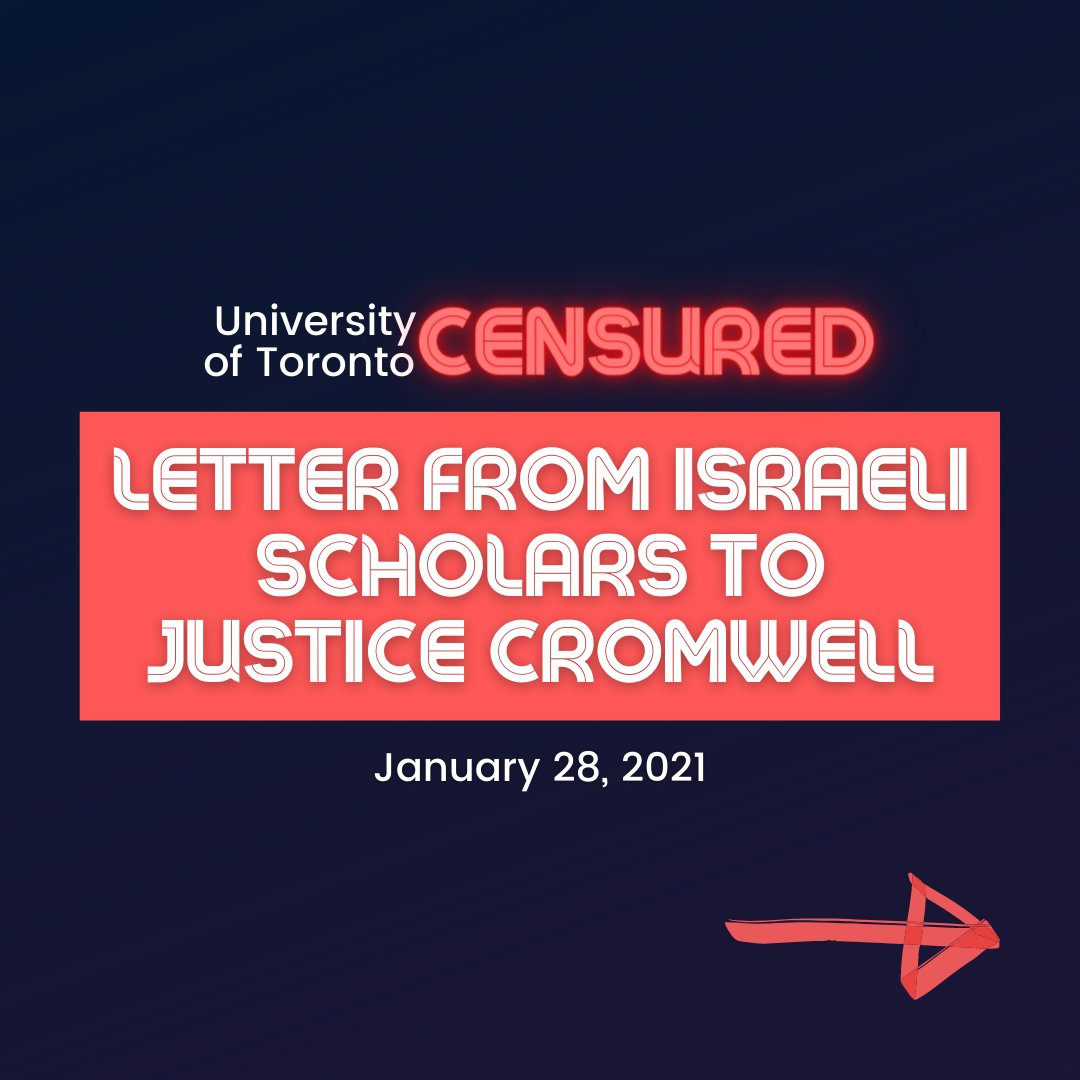 📜Israeli Scholars' Letter to Justice Cromwell📜  1/10 #CensureUofT #UofTScandal #HireValentinaNow  https://t.co/ww1rNvwrGT https://t.co/vqr6PYJi5Q
