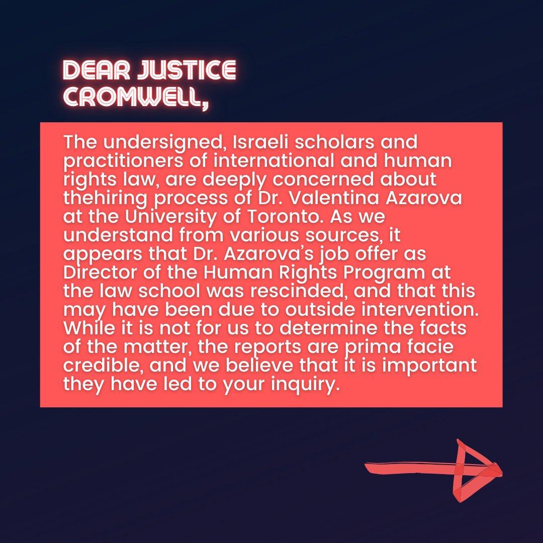 📜Israeli Scholars' Letter to Justice Cromwell📜  2/10 #CensureUofT #UofTScandal #HireValentinaNow https://t.co/ii2pQgK2zx