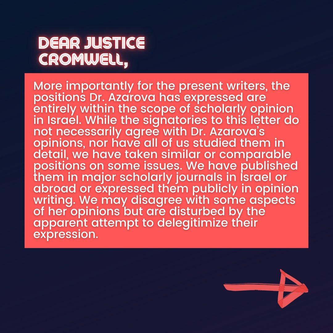 📜Israeli Scholars' Letter to Justice Cromwell📜  6/10  #CensureUofT #UofTScandal #HireValentinaNow https://t.co/lJfryqRDyp