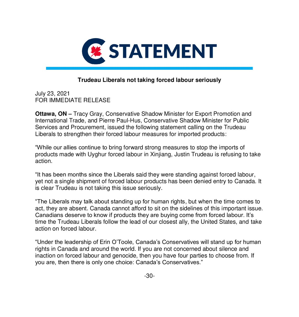 While our allies continue to bring forward strong measures to stop the imports of products made with Uyghur forced labour in Xinjiang, Justin Trudeau is refusing to take action. https://t.co/IZq9MOj1SG