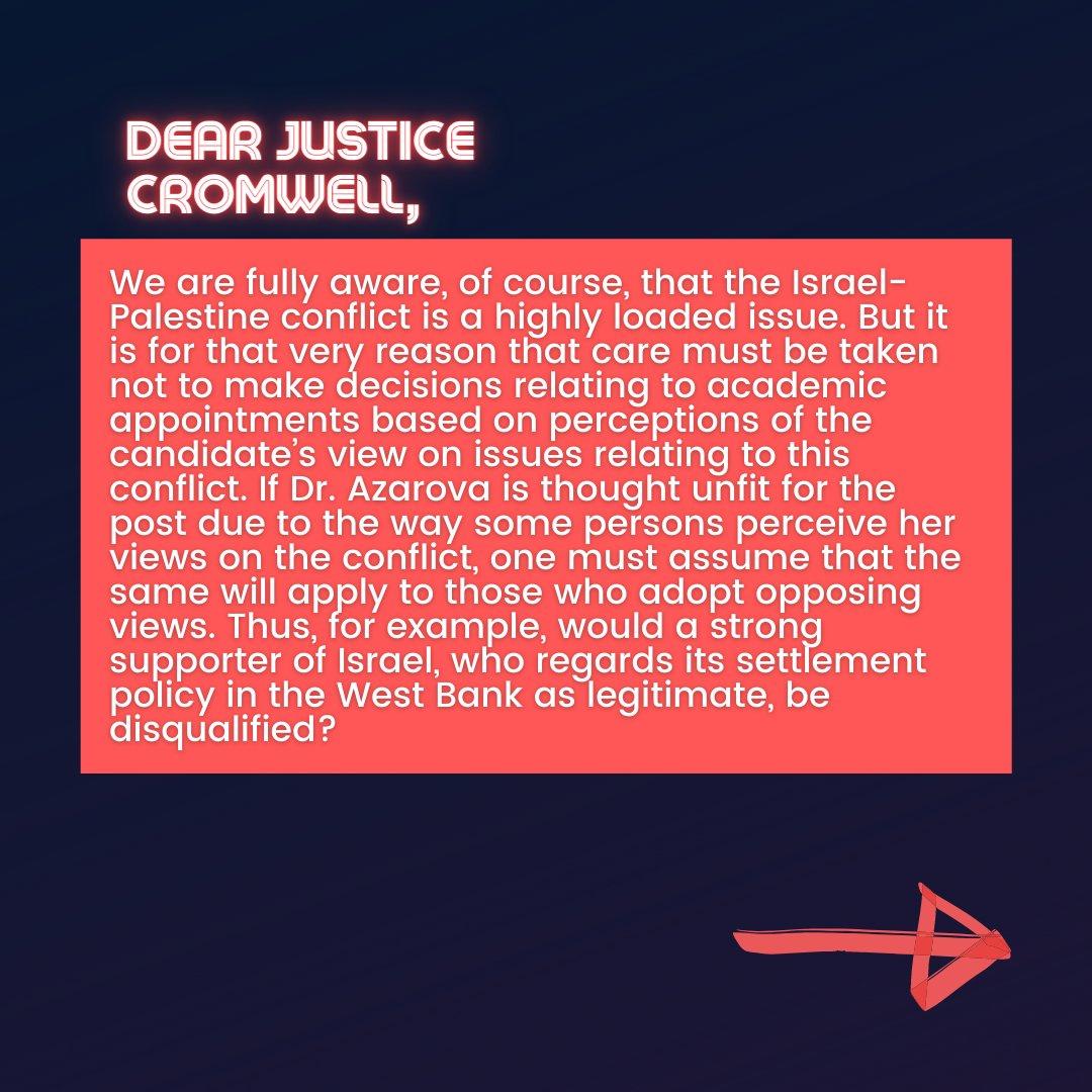 📜Israeli Scholars' Letter to Justice Cromwell📜  8/10  #CensureUofT #UofTScandal #HireValentinaNow https://t.co/qqszFTzRAJ