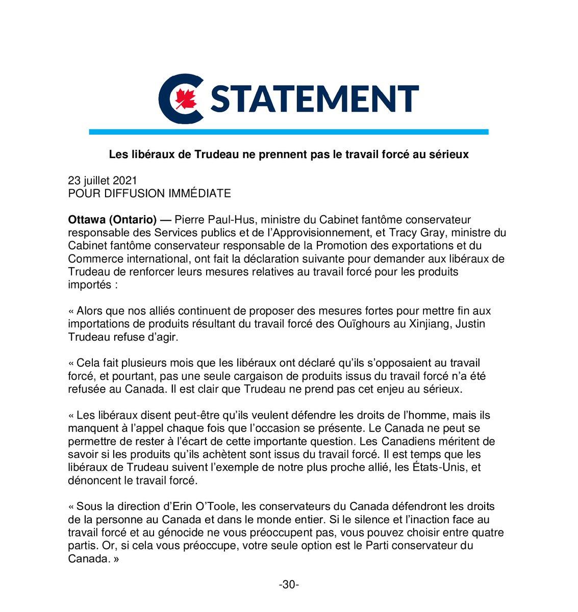 Alors que nos alliés continuent de proposer des mesures fortes pour mettre fin aux importations de produits résultant du travail forcé des Ouïghours au Xinjiang, Justin Trudeau refuse d'agir. https://t.co/QtKmrOeNVz