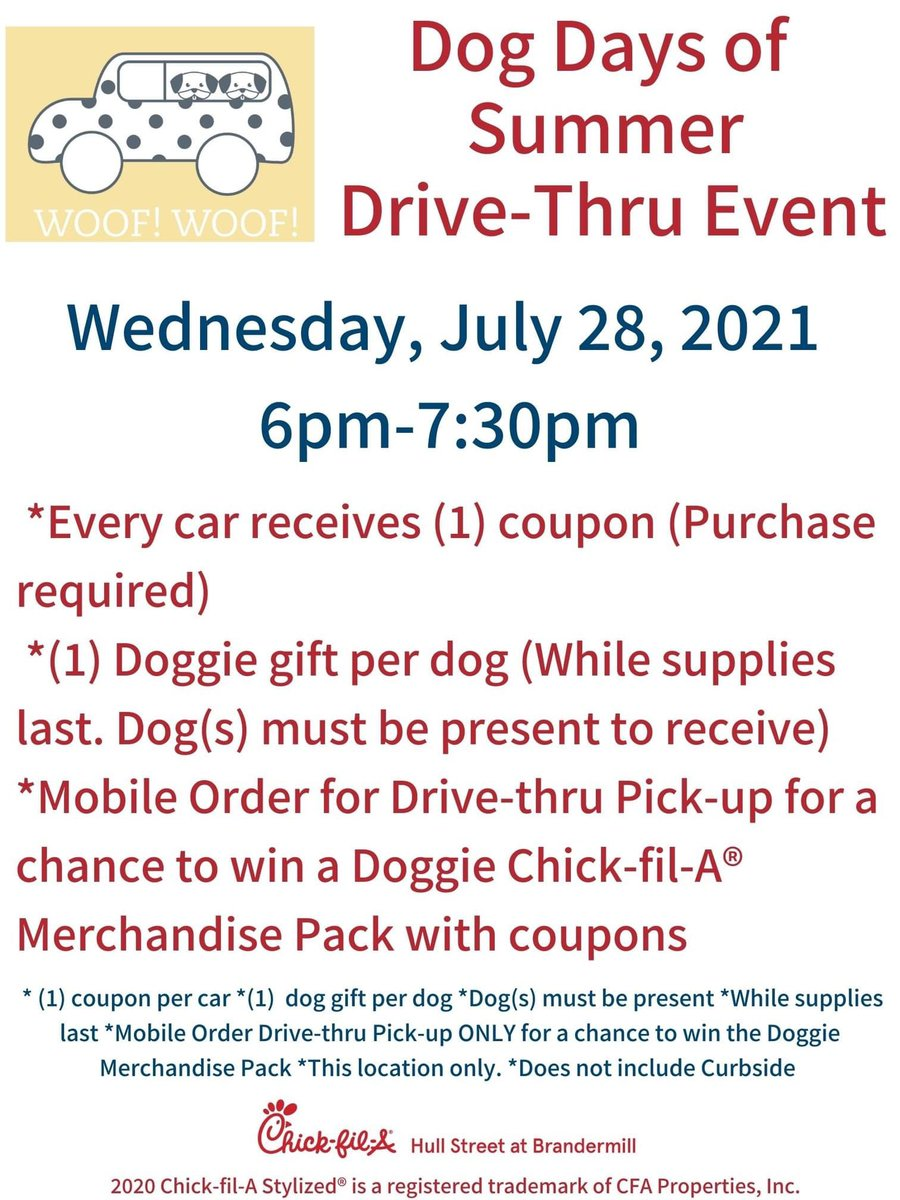 Bring your Pups! Join us on Wednesday, July 28, 2021 for another Dog Days of Summer! ❤🐹 We can't wait to see them (and you)! #cfa #cfahullstreet #cfahullstreetdogdays #giveaway #dogs https://t.co/5B1TTGt5Vm