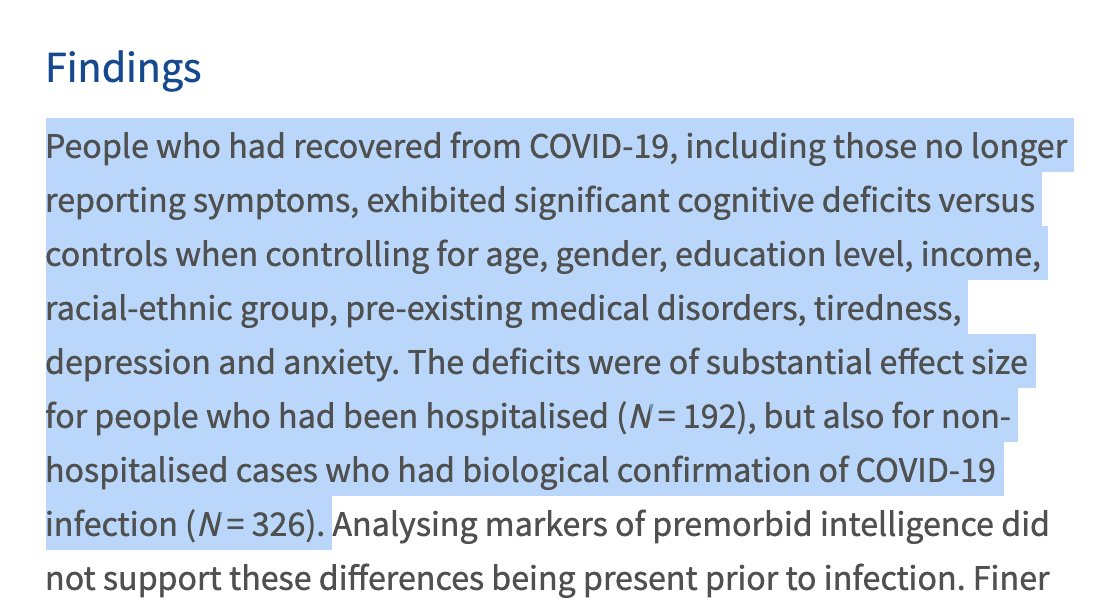 This is an awful virus. Unacceptable.  A UK study observed significant cognitive decline in even mild infection  We must consider how the viral features (SAG) distort the immune system (hyperactivation/AICD) and cause neuropathology (FCS/ T cells in brain) https://t.co/n1nx00QXhZ https://t.co/pqAf9O4eYD