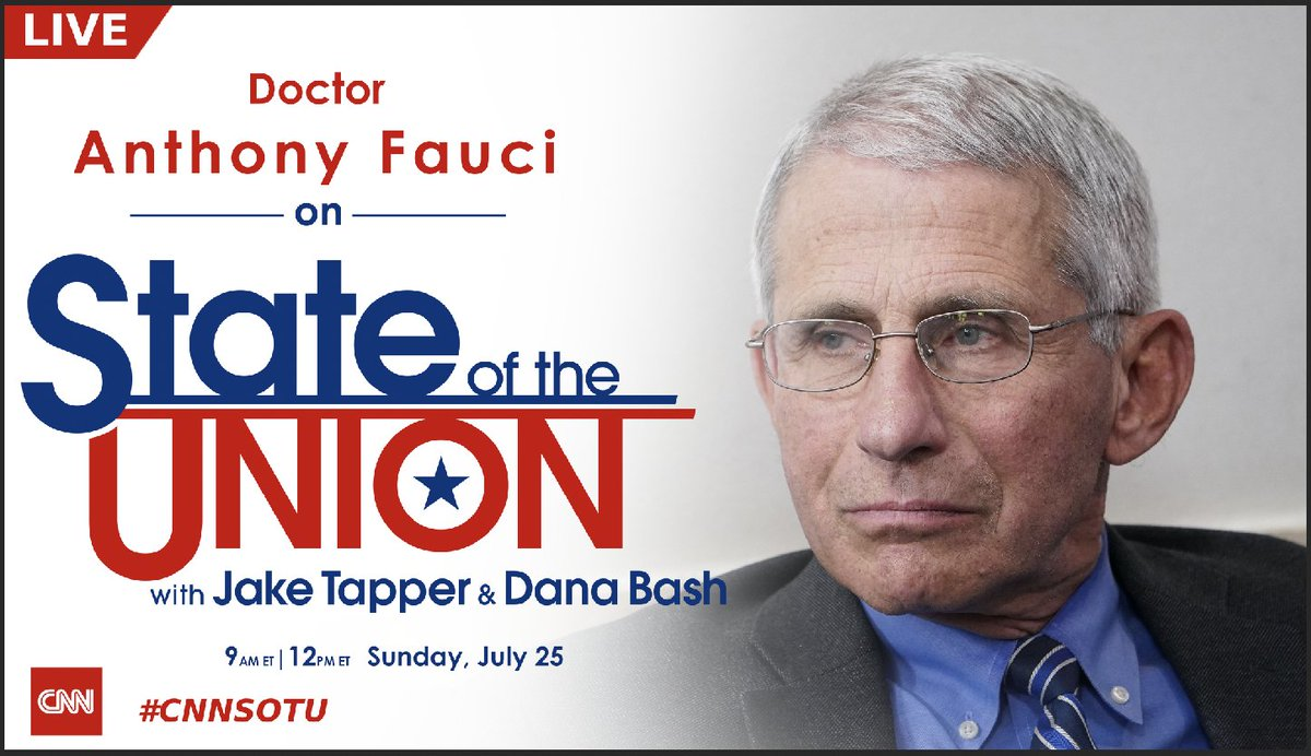 LIVE: Dr. Anthony Fauci joins @jaketapper on #CNNSOTU. Tune in! https://t.co/wa7w8XGXGn