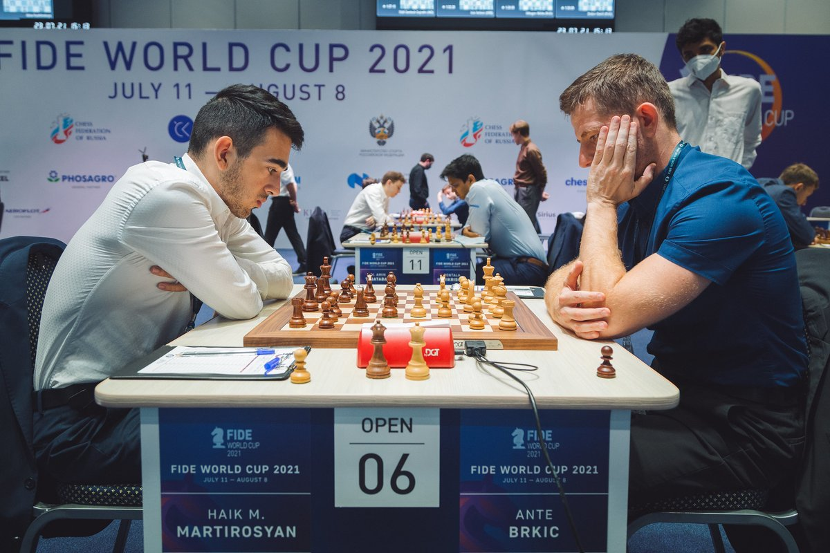 test Twitter Media - Haik Martirosyan holds Ante Brkic to a draw in their second game and advances to the next round of the World Cup. Great run for the Armenian who just turned 21! #FIDEWorldCup https://t.co/tufr6RCy15