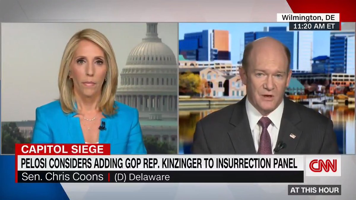 """Democratic Sen. Chris Coons says GOP Rep. Adam Kinzinger would be a """"great addition"""" to the Jan. 6 committee.  """"Along with Congresswoman Cheney, I think they would round out a bipartisan effort to get to the bottom of Jan. 6,"""" he tells @danabashCNN. https://t.co/SnxKJiA3Df https://t.co/mwNrk8QqeV"""