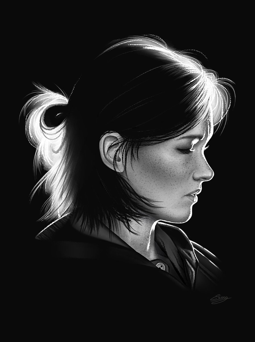 Black & white portrait of Ellie from The Last of Us Part 2 gazing downward & in profile.