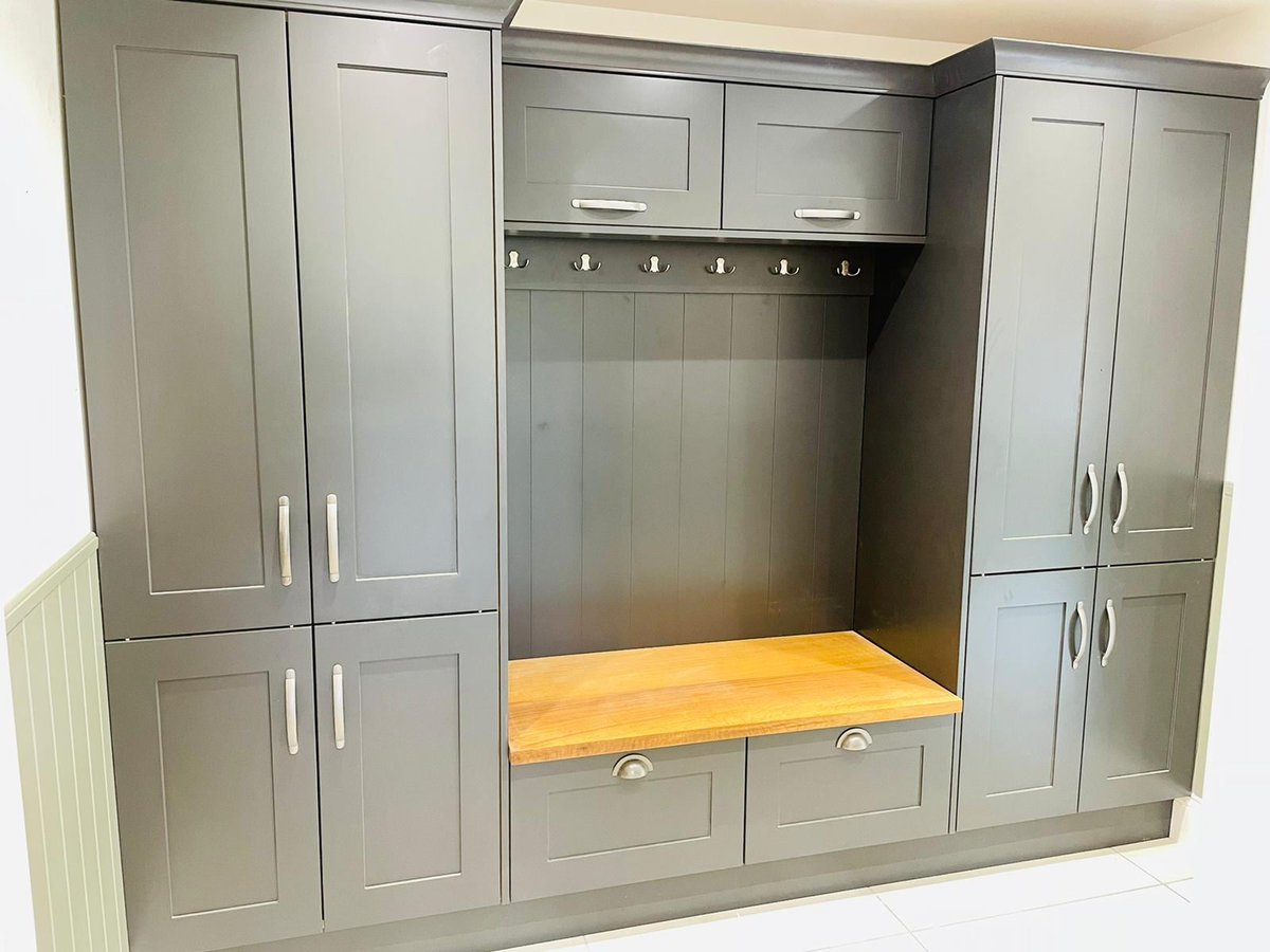 Boot Room Of The Week! 🤍 We just love this stunning boot room from one of our latest kitchen projects, with practical storage and a sophisticated style statement! #bootroom 📸 Marlborough silk painted Shaker Style Boot Room in Scot's Grey